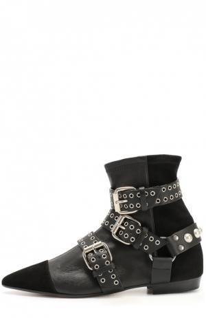 Комбинированные ботинки с декоративными ремешками и люверсами Isabel Marant. Цвет: черный