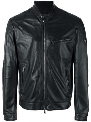 Кожаная куртка с узким воротником Hackett. Цвет: чёрный
