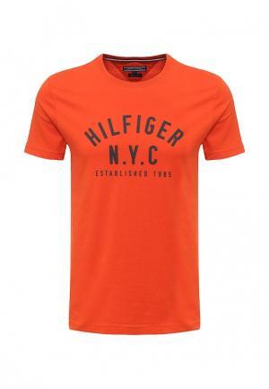 Футболка Tommy Hilfiger. Цвет: оранжевый