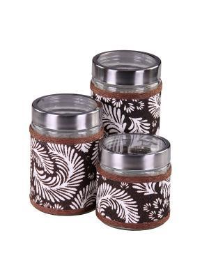Набор банок для сыпучих продуктов 3 предмета, шт PATRICIA. Цвет: коричневый