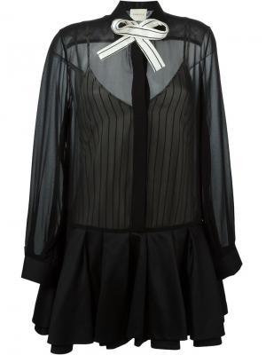 Платье-рубашка с бантом Daniele Carlotta. Цвет: чёрный