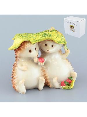 Фигурка декоративная Ежики под листочком Elan Gallery. Цвет: бежевый, зеленый, коричневый