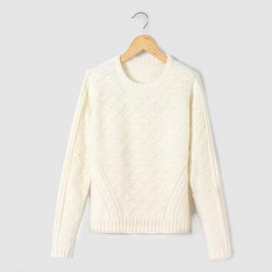 Пуловер из плетеного трикотажа на 10-16 лет R pop. Цвет: розовый,экрю