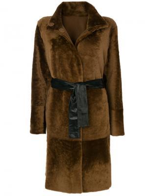 Двустороннее пальто с поясом Drome. Цвет: коричневый