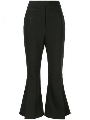 Расклешенные укороченные брюки Ellery. Цвет: чёрный