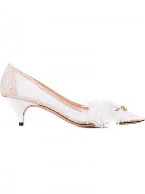 Кружевные туфли Rochas. Цвет: белый