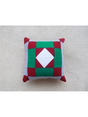 Подушка футер Агат. Цвет: зеленый, красный, серый