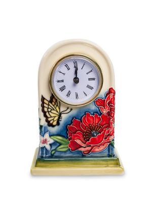 Часы настольные Цветущий сад Pavone. Цвет: бежевый, голубой, красный