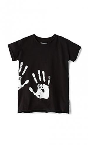 Hand print tee Nununu. Цвет: черный