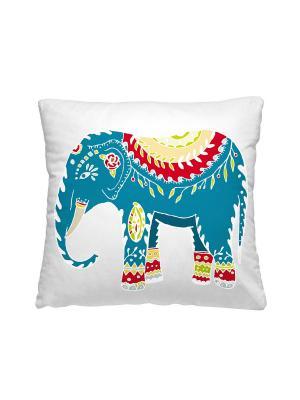 Подушка - думка, Индийский слон Волшебная ночь. Цвет: молочный, голубой