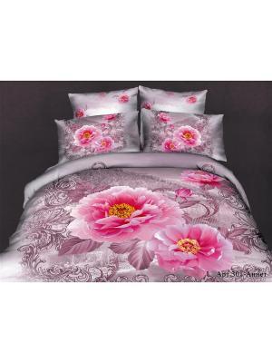 Покрывало евро  2 декоративные наволочки 50*70 Diva Afrodita. Цвет: розовый