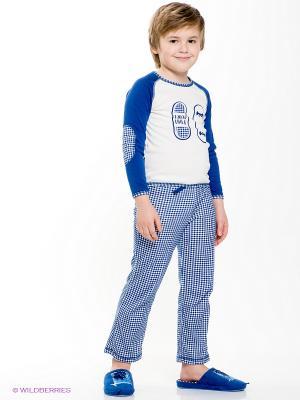 Пижама Lucky Child. Цвет: темно-синий, молочный