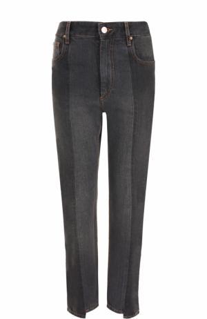 Укороченные джинсы прямого кроя с потертостями Isabel Marant Etoile. Цвет: серый