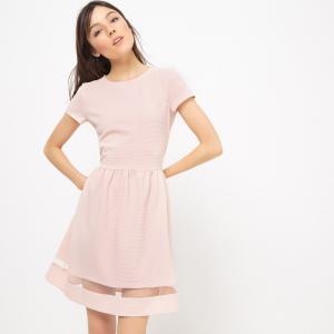 Платье расклешенное с прозрачной полосой внизу MADEMOISELLE R. Цвет: телесный,черный