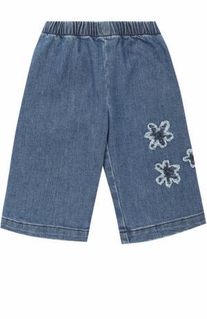 Укороченные джинсы с аппликациями и эластичной вставкой на поясе Il Gufo. Цвет: синий