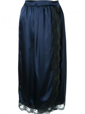 Юбка с запахом и кружевной отделкой Muveil. Цвет: синий