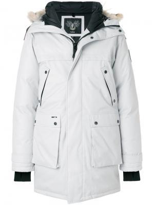 Пальто-пуховик Yatesy с контрастной отделкой Nobis. Цвет: серый