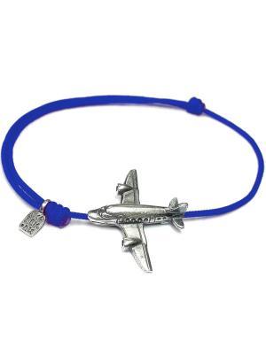 Самолет, браслет на нити Amorem. Цвет: синий, серебристый