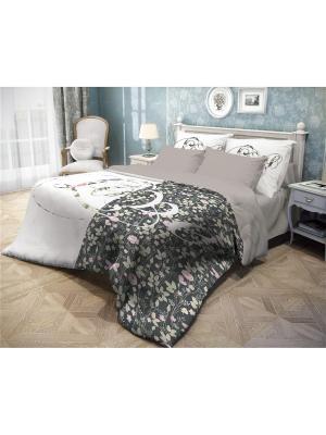 Комплект постельного белья ЕВРО, ВОЛШЕБНАЯ НОЧЬ DIGITAL, ранфорс, 50*70см, стиль-Прованс, Amour. Цвет: серый, белый, розовый