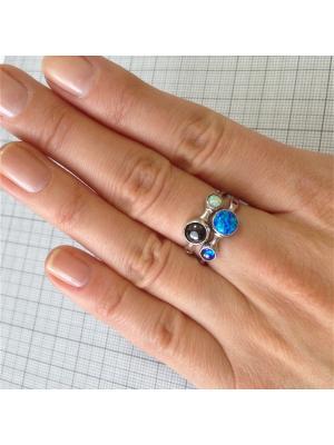 Кольцо Стильное KU&KU. Цвет: бирюзовый,голубой,светло-голубой