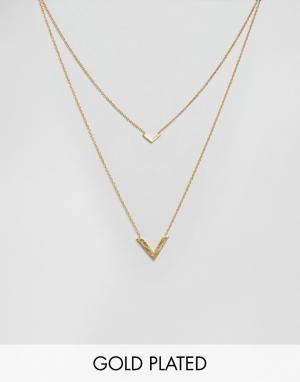 Gorjana Двухрядное ожерелье с V-образными подвесками Knox. Цвет: золотой