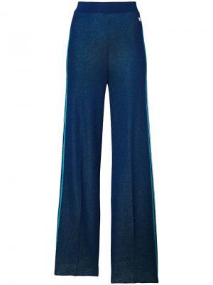 Расклешенные брюки из люрекса Twin-Set. Цвет: синий