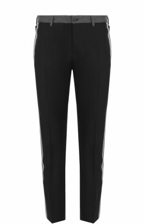 Укороченные брюки из смеси хлопка и шелка с лампасами Dolce & Gabbana. Цвет: черный