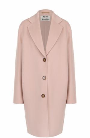 Шерстяное пальто свободного кроя со спущенным рукавом Acne Studios. Цвет: розовый