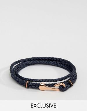Seven London Синий браслет с крюком эксклюзивно для ASOS. Цвет: темно-синий