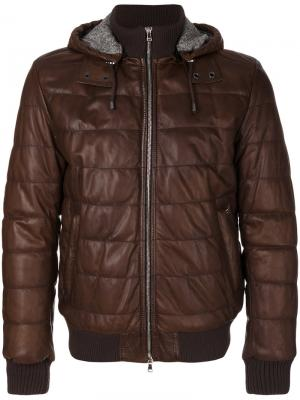 Стеганая куртка-бомбер Barba. Цвет: коричневый