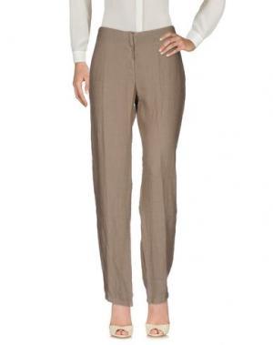 Повседневные брюки LA FABBRICA DEL LINO. Цвет: голубиный серый