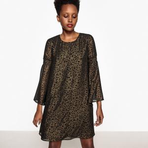 Платье средней длины с рисунком, расширяющееся к низу La Redoute Collections. Цвет: рисунок звериный