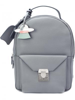Рюкзак с передним карманом Mark Cross. Цвет: серый