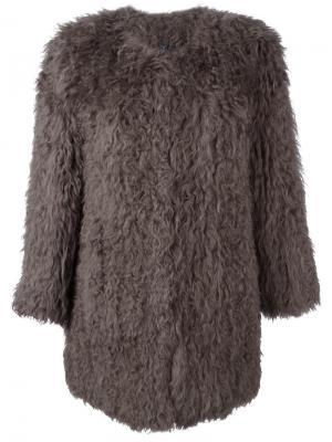 Меховое пальто Ravn. Цвет: коричневый