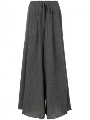 Кашемировые брюки палаццо Maison Flaneur. Цвет: серый