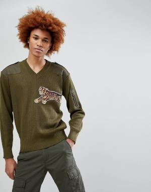 Maharishi Джемпер в стиле милитари с вышивкой тигра. Цвет: зеленый