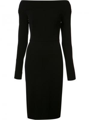 Приталенное платье с открытыми плечами Narciso Rodriguez. Цвет: чёрный