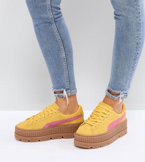 Puma Замшевые криперы (желтый/розовый) X Fenty. Цвет: желтый