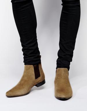 ASOS Замшевые ботинки Chelsea. Цвет: светло-бежевый