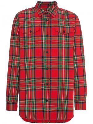 Рубашка в шотландскую клетку Off-White. Цвет: красный