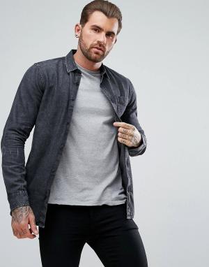 New Look Черная джинсовая рубашка классического кроя с эффектом кислотной стирк. Цвет: черный