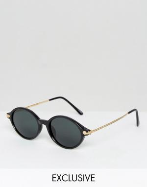 Reclaimed Vintage Круглые солнцезащитные очки в черной оправе. Цвет: черный