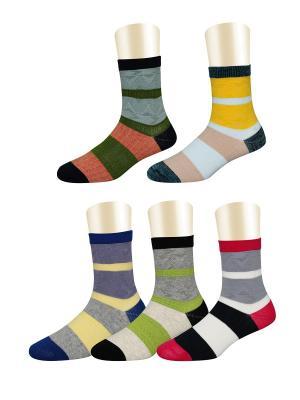 Носки, 5 пар Glamuriki. Цвет: серый, красный, оранжевый