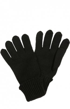 Вязаные перчатки из шерсти Il Trenino. Цвет: черный