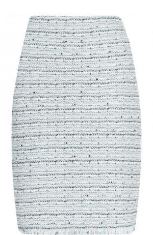 Буклированная мини-юбка с бахромой St. John. Цвет: светло-зеленый