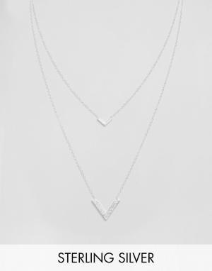 Gorjana Двухрядное ожерелье с V-образными подвесками Knox. Цвет: серебряный