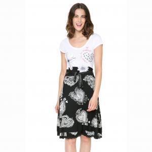 Платье с короткими рукавами, на поясе, двухцветное , Vest Roxana DESIGUAL. Цвет: наб. рисунок черный/ белый