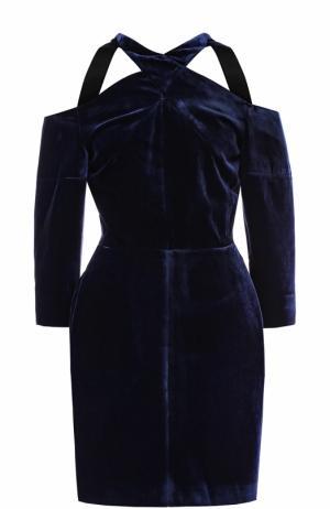 Приталенное бархатное мини-платье Roland Mouret. Цвет: синий