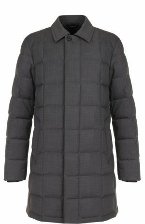 Пуховое пальто на молнии с отложным воротником Z Zegna. Цвет: серый