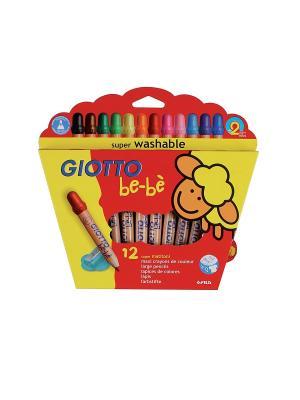 GIOTTO BEBE Super Largepencils 12 цв.Деревянные карандаши с точилкой FILA. Цвет: красный, желтый, синий